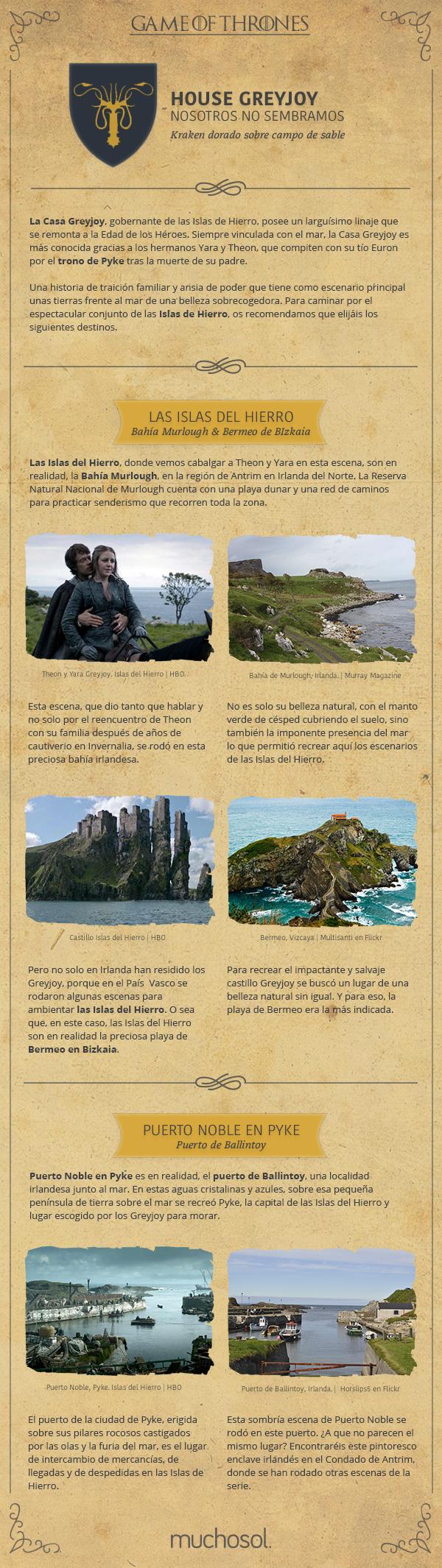 Las localizaciones de juego de tronos de la familia Greyjoy