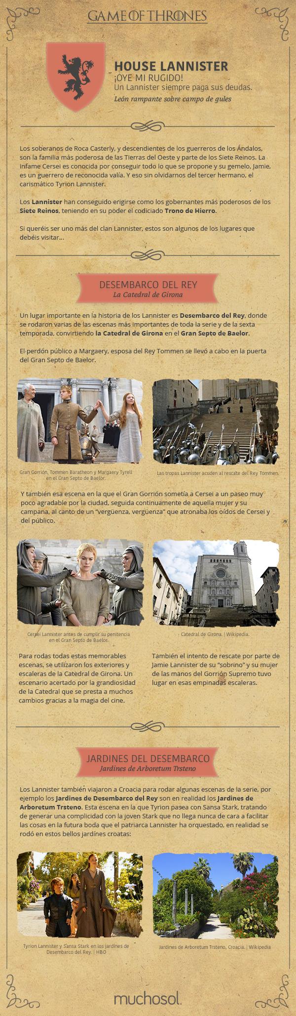 Estas son las localizaciones de Juego de Tronos de la Casa Lannister