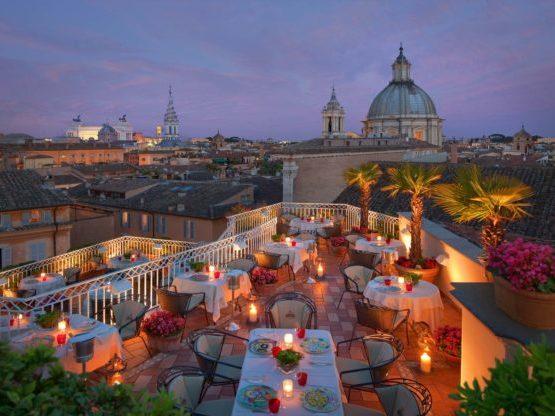 Una terraza bonita para visitar Roma en pareja