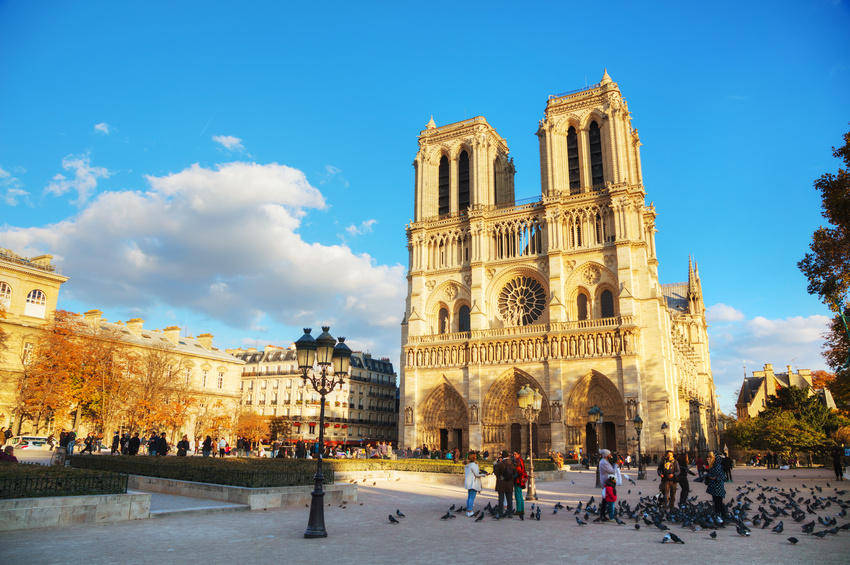 PARIS - NOVEMBER 2: Notre Dame de Paris cathedral on November 2, 2016 in Paris, France. It's the finest example of French Gothic architecture and the largest and most well-known church buildings in the world.
