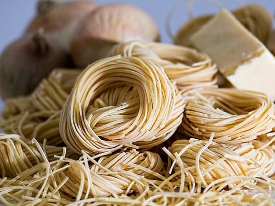 Pasta artesanal, como la que se sirve en las trattorias de Roma