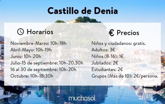 Horarios y precios Castillo Denia